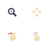 Flat Icons Right, Sensory, Magnifier And Other Vector Elements. Set Of Gestures Flat Icons Symbols Also Includes Swipe, Touch, Single Objects. - 176440315