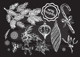 Hand drawn set of Christmas decorations. Template for greeting cards, invitations, posters, flyers. Vector isolated elements collection on the blackboard for your design. - 176441153