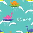 Cute dinosaur seamless pattern. Dinosaur theme wallpaper and wrapping paper design set. - 176442317