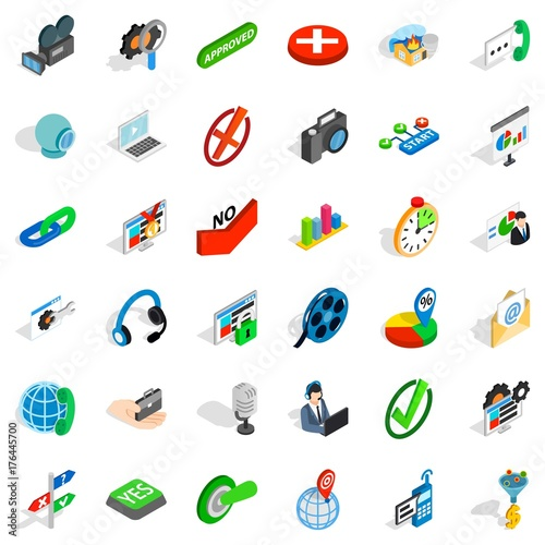 Science exploration icons set, isometric style