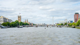 Palace of Westminster, Big Ben, Westminster Bridge, London Eye View By The River Thames - 176448712