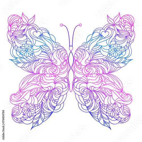 Floral hand drawn butterfly