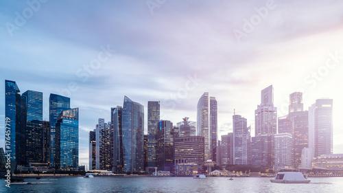 Singapore business city sunset