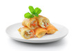 Fried Chinese Traditional Spring rolls food in a plate isolated on a white background