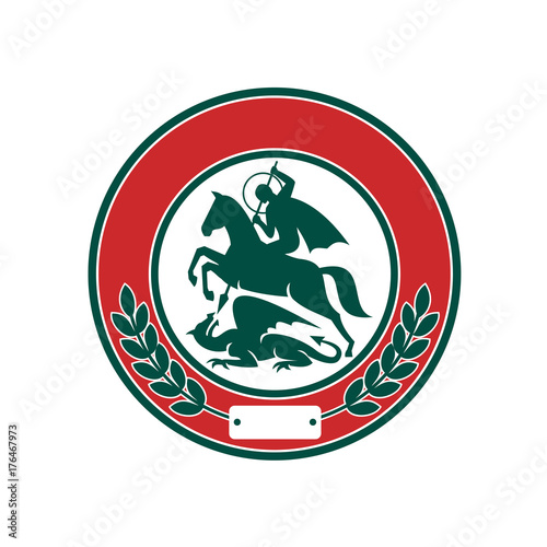 Saint George Slaying Dragon Circle Retro