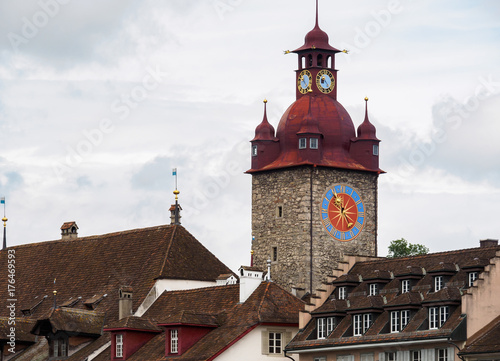 The famous red clock tower in Luzern city, Switzerland. Poster