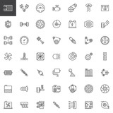 Car parts line icons set, outline vector symbol collection, linear style pictogram pack. Signs, logo illustration. Set includes icons as engine, tire, gear, radiator, suspension,transmission, gasoline