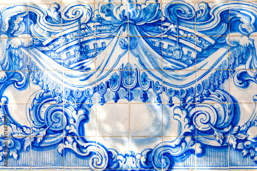 Traditional ornate portuguese decorative tiles Poster