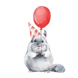 Chinchilla 1. Watercolor birthday card