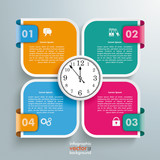 Round Quadrates Template 4 Markers Clock - 176481797