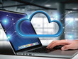 Blue cloud displayed on a futuristic interface - 3d rendering