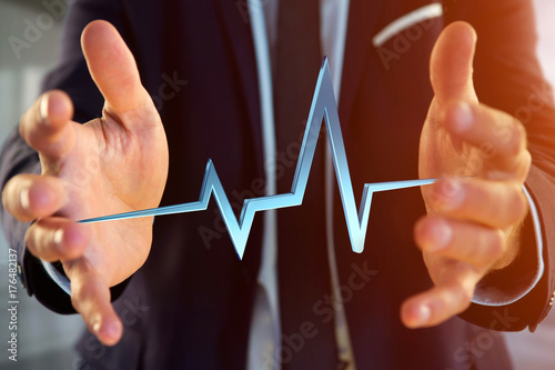3d rendering heart beat line on a futuristic interface Poster