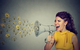 Business woman screaming out her ideas loud in megaphone - 176489353