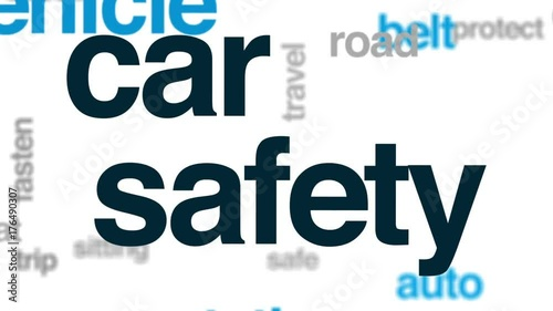 Wall mural Car safety animated word cloud, text design animation.