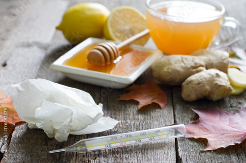Ginger tea infusion with lemon and honey immunity on flu cold concept