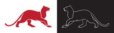 Two panther silhouette, vector outline of wildcat for logo or mascot. - 176495734