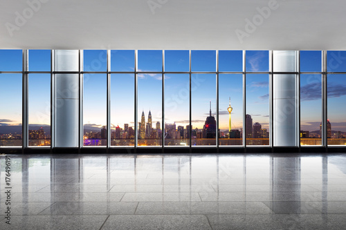 empty office with cityscape of modern city Poster