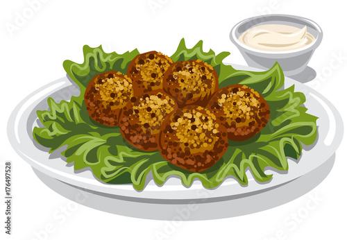 Staande foto Bol falafel and sauce