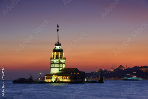 Kiz Kulesi Maiden's Tower at night in istanbul,Turkey Poster