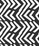 Hand drawn vector abstract rough geometric monochrome seamless zig zag chevron pattern in black and white colors.Hand made grunge brush painted texture.Scandinavian concept design for fashion,fabric. - 176498305