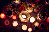 burning candles background top view - 176498792