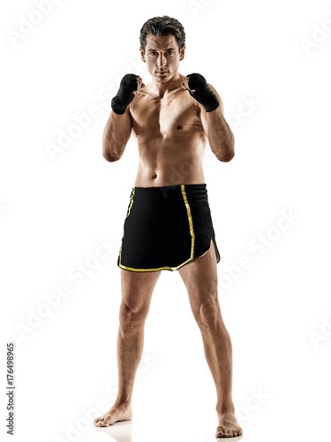 one caucasian Muay Thai kickboxing kickboxer thai boxing man isolated on white b Poster