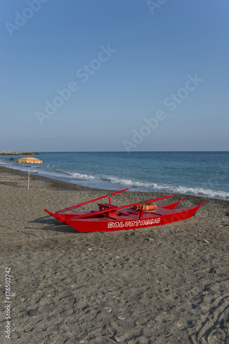 Italy, Liguria, pedalo on a typical beach. Poster