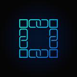 Blockchain technology blue icon. Vector block chain concept line - 176504194