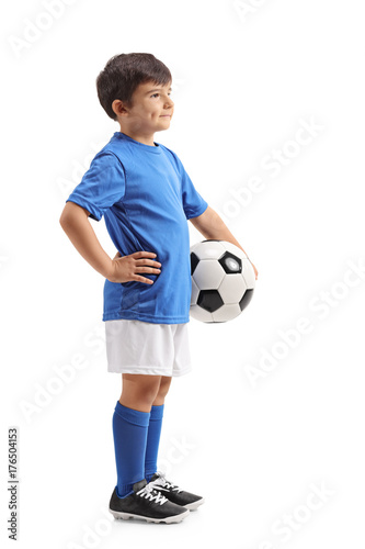 Little soccer player with a football waiting in line Poster