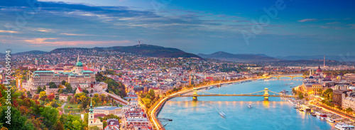 Plexiglas Boedapest Budapest. Panoramic cityscape image of Budapest, capital city of Hungary, during sunset.