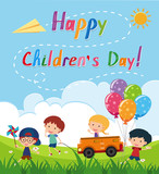 Happy children's day poster with kids in the park - 176506333