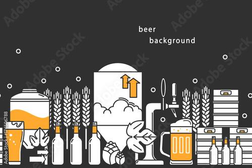 Fototapeta Beer. Vector background. Bottles, keg, glass, mug, equipment for brewery, hops, wheat. Line icons on a dark background.