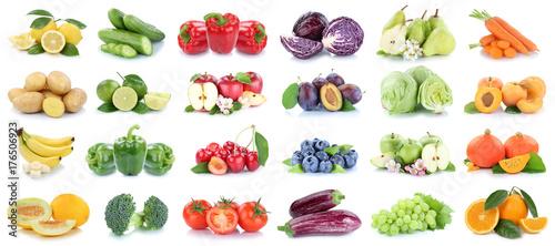 Spoed canvasdoek 2cm dik Verse groenten Obst und Gemüse Früchte Apfel Orange Zitrone Tomaten Farben Collage Freisteller freigestellt isoliert