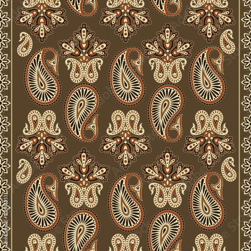 Paisley Floral oriental ethnic Pattern. Seamless Arabic Ornament. Ornamental motifs of the Indian fabric patterns. - 176506933