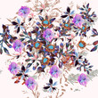 Beautiful pattern  illustration with blooming purple flowers