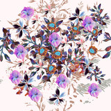 Beautiful pattern  illustration with blooming purple flowers - 176509130