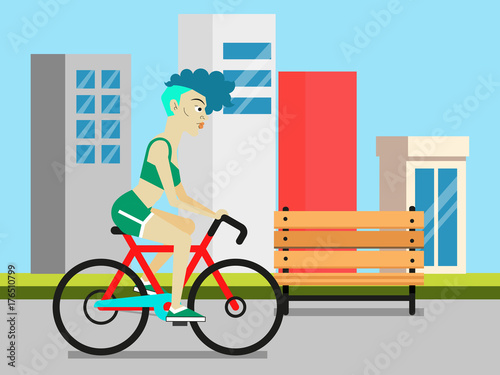 Staande foto Kinderkamer Young woman riding a bicycle in the morning city at sunrise. Sport, fitness, health, lifestyle and people concept illustration vector.