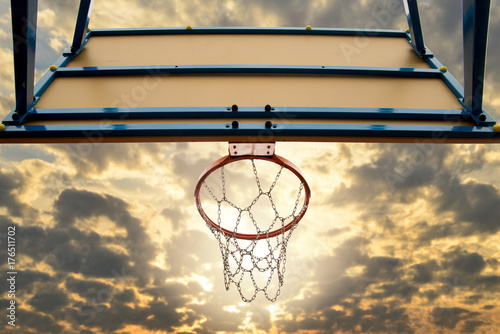 Fotobehang Basketbal Street basketball.Basketball Hoop close up.