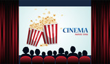 Cinema poster with popcorn, screen and red curtains .Vector illustration - 176512750