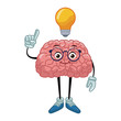 Nerd brain with idea cartoon icon vector illustration graphic design