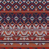 Christmas knitted pattern vector illustration of red blue and white background - 176513543