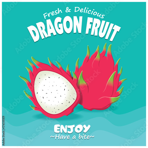 Fotobehang Vintage Poster Vintage fruit poster design with vector dragon fruit.