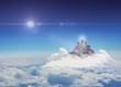 Cross religion symbol shape in the sky