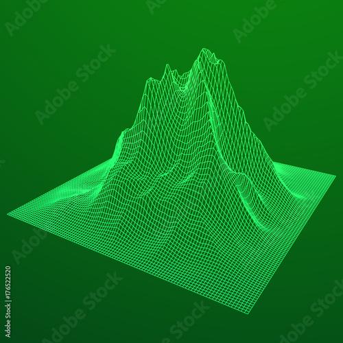 Aluminium Groene Wireframe terrain vector background. Cyberspace landscape grid technology illustration