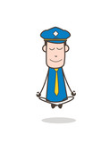 Smiling Postman Doing Meditation Vector - 176523946