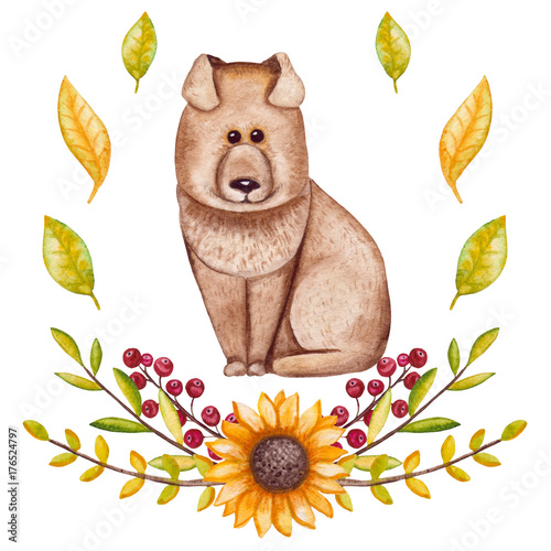 Watercolor Sunflower, Dog, Berry and Yellow Leaves