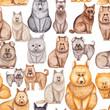 Kids Seamless Pattern of Watercolor Cartoon Dogs - 176525108