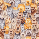 Funny Seamless Pattern with Watercolor Little Dogs - 176525120