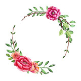 Wreath with Green Leaves and Summer Flowers - 176525323