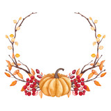 Wreath with Watercolor Pumpkin, Tree Branches and Berries - 176525364
